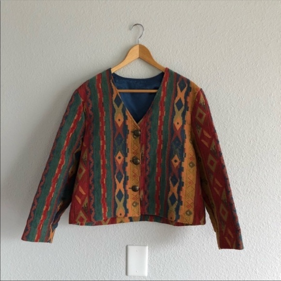 Vintage Jackets & Blazers - Vintage 90s Geometric Short Layering Jacket